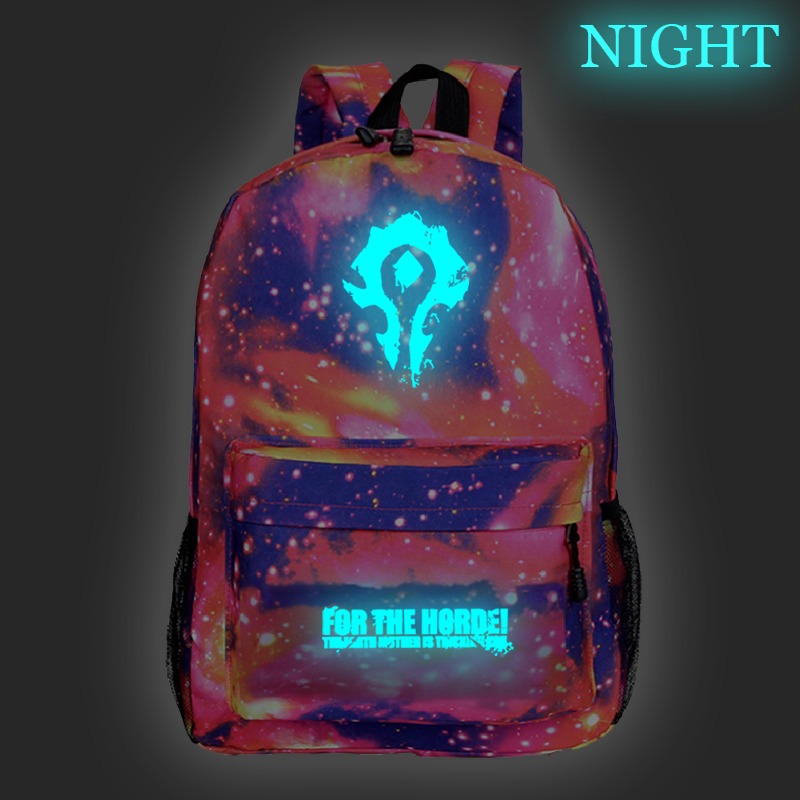 Venda quente mundo de warcraft luminosa mochila