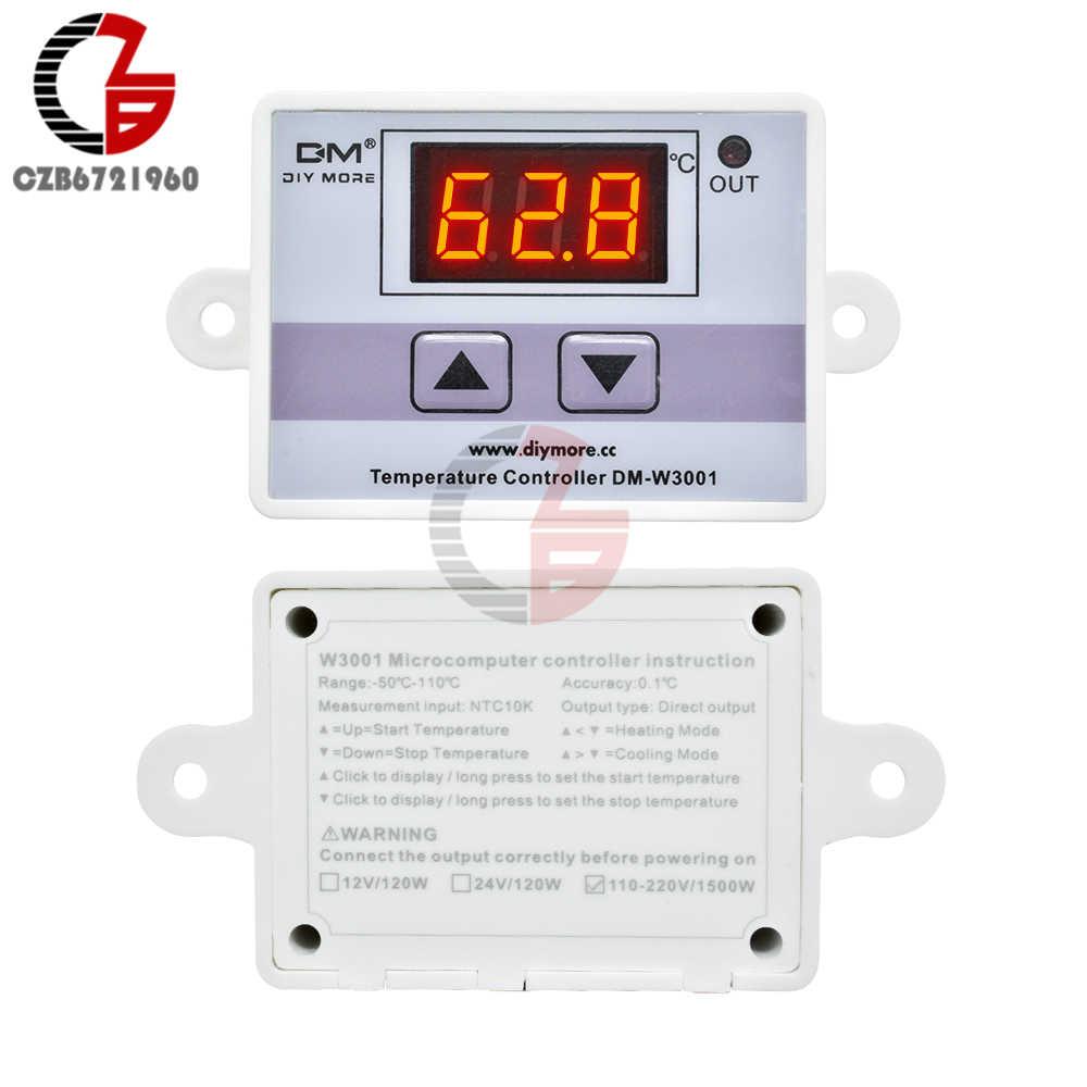 W3001 régulateur de température numérique, 110V 220V 12V 24 V, régulateur de température numérique, Thermostat, incubateur, régulateur de température pour l'eau du chauffe-eau