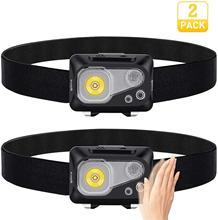 Supfire HL07 2 Pack Led Headlamp Motion Sensor Head Lamp Powered by 3AAA Batteries Camping Headlight with Hook Design