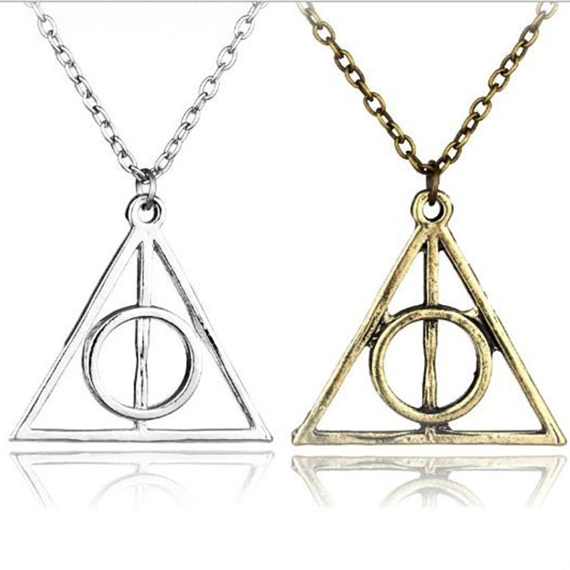 Triangle Necklace The Deathly Hallows Pendant Necklaces Movie Trendy Jewelry Chain Women Men Fashion Accesorios Choker Collares