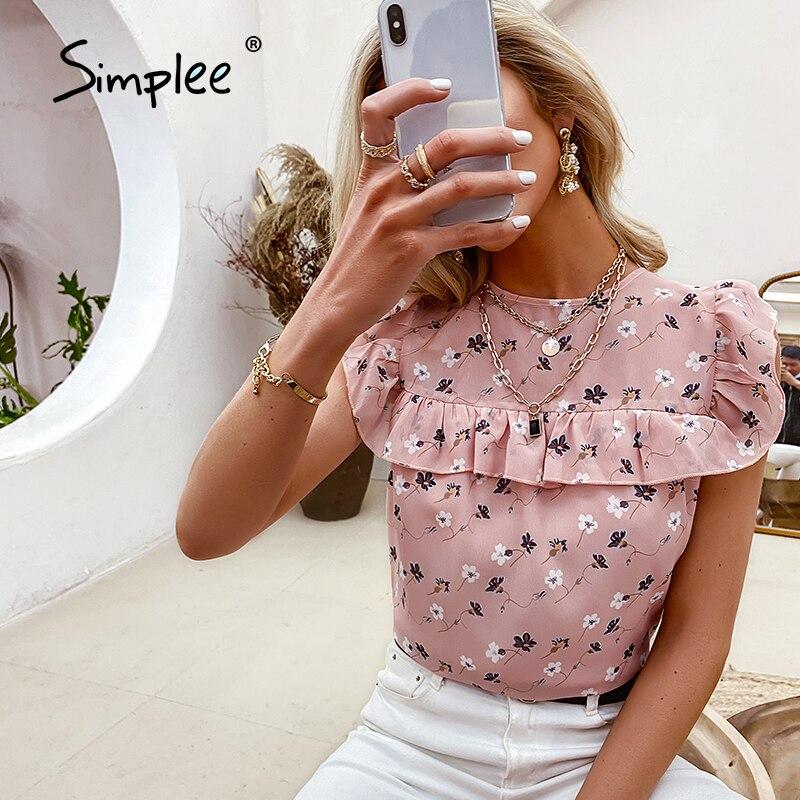 Simplee elegante lady stampa floreale increspato donna t-shirt in chiffon estate o-collo senza maniche top allentati donna Casual top moda