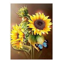 Kwiaty słonecznik i motyl diamentowe malowanie okrągłe pełne wiertło kwiatowe Nouveaute DIY mozaika haft 5D Cross Stitch prezenty