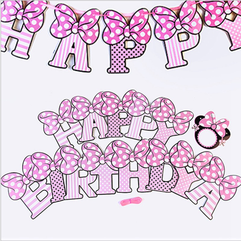 Girl Kid Minnie Mouse Happy Birthday Party Banners Flags Decorations Garlands