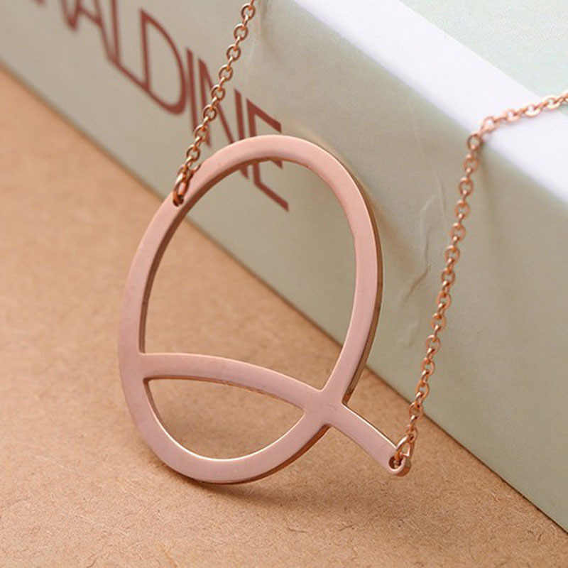 Elegant 26 Letter Necklaces Pendants alphabet 3 Color Stainless Steel Choker Initial Necklace Women Girl Jewelry  chain