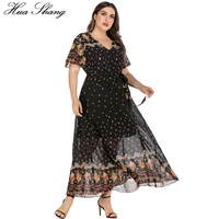 5XL Plus Size Floral Boho Dress Women 2019 Summer V Neck Short Sleeve Flower Print Chiffon Beach Dress Tunic Maxi Long Dresses