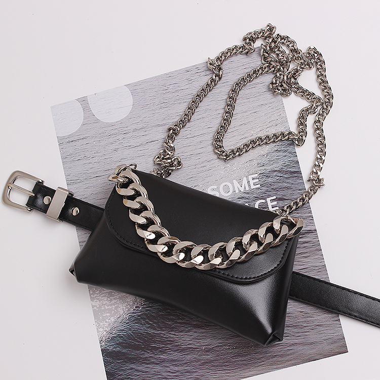 Autumn European Design WIde Metal Chain Decorated PU Waist Belts Detachable Female Multi-functional Flap Leather Shoulder Bag