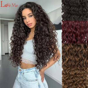 LOVE ME 32 Inches Deep Wave Bundles Curly Hair African Braided Hair Weaving Synthetic Bundles Hair Extension New Arrival