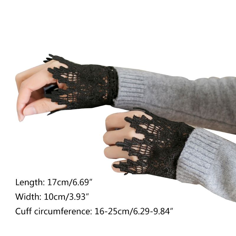 Women Hollow Out Lace Pleated Horn Cuff Detachable Stretch Fake Sleeves Bracelet