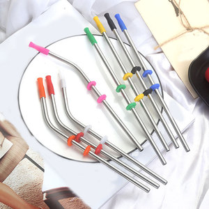 New Straight Curved Stainless Steel Straw Eco Friendly Drinking Straws Silicone Tips Metal Straws Party Accessory High Quality