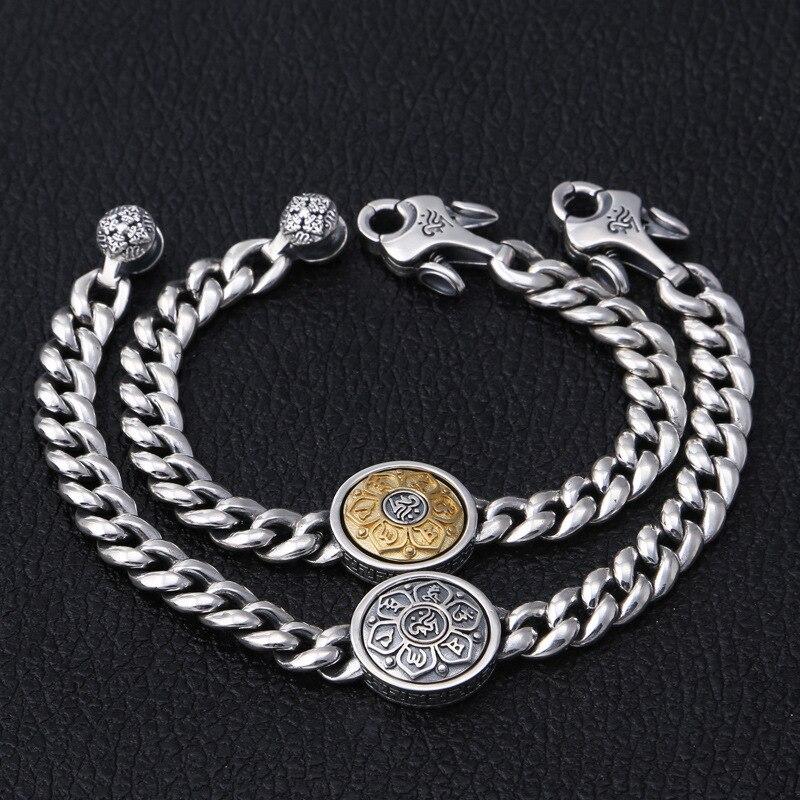 S925 украшения из чистого серебра шесть слов браслет вращение Ретро Мода Прохладный личности