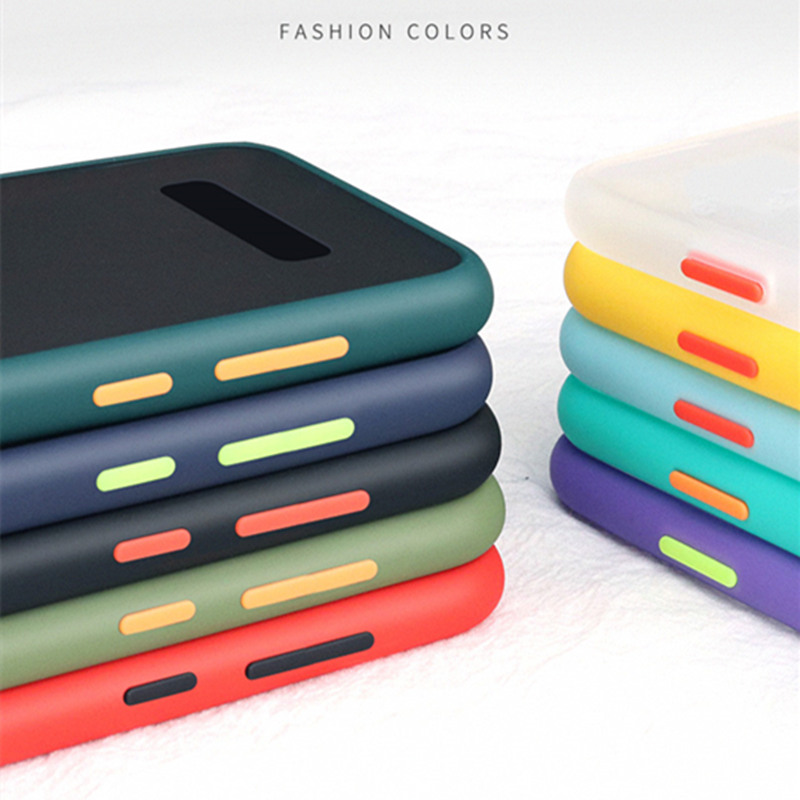 Matte Shockproof Phone Case For Samsung Galaxy S20 Ultra S10 S9 S8 Plus Note 10 Plus 9 Contrast Color Frame Hard PC Cases Cover