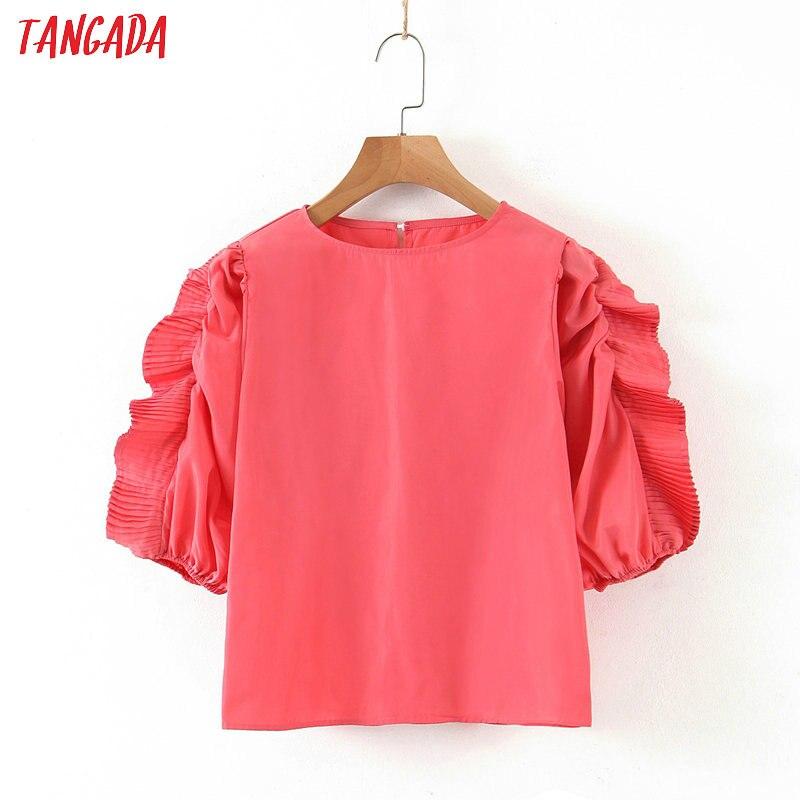Tangada Women Retro Pink Summer Crop Shirt Ruffles Short Sleeve 2020 New Chic Female Shirt Tops SL245