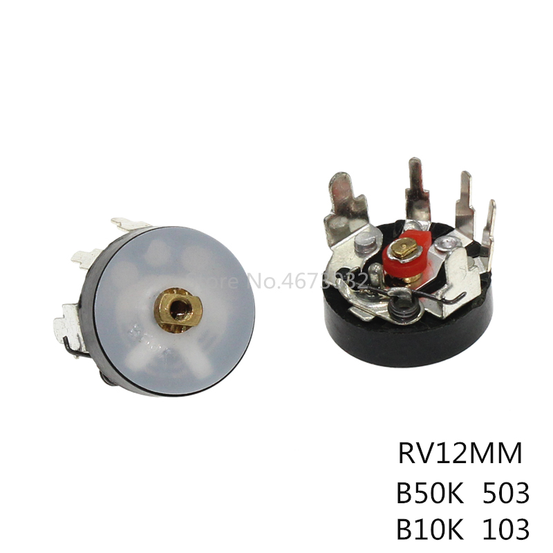 10 шт. 10K RV12 прямоугольный радиопотенциометр RV12MM B503 B103 B10K B50K мощность потенциометр громкости усилителя с переключателем