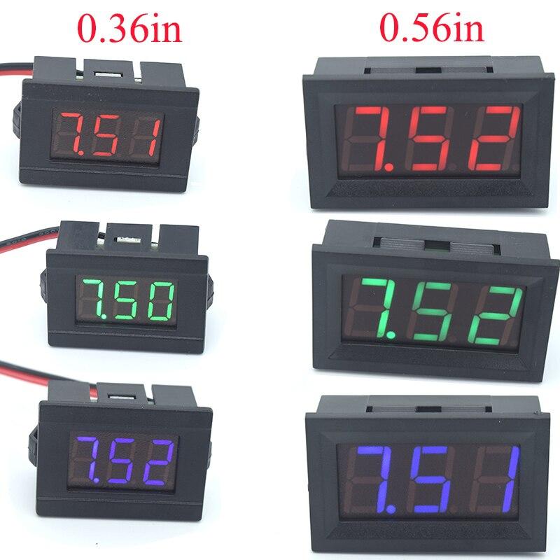 Mini Testador Voltímetro Digital DC 4.5 V a 30 V 2-Fio Mini Display LED Medidor de Tensão para o Teste carro Bateria de Moto Carro
