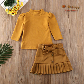 Auutmn Winter Warm Toddler Baby Girls Fashion Suit Ruffle Tops T-shirt+Tutu Skirt Bow-knot Cotton Outfits Set Clothes 1-6T 2020 knot side ruffle skirt