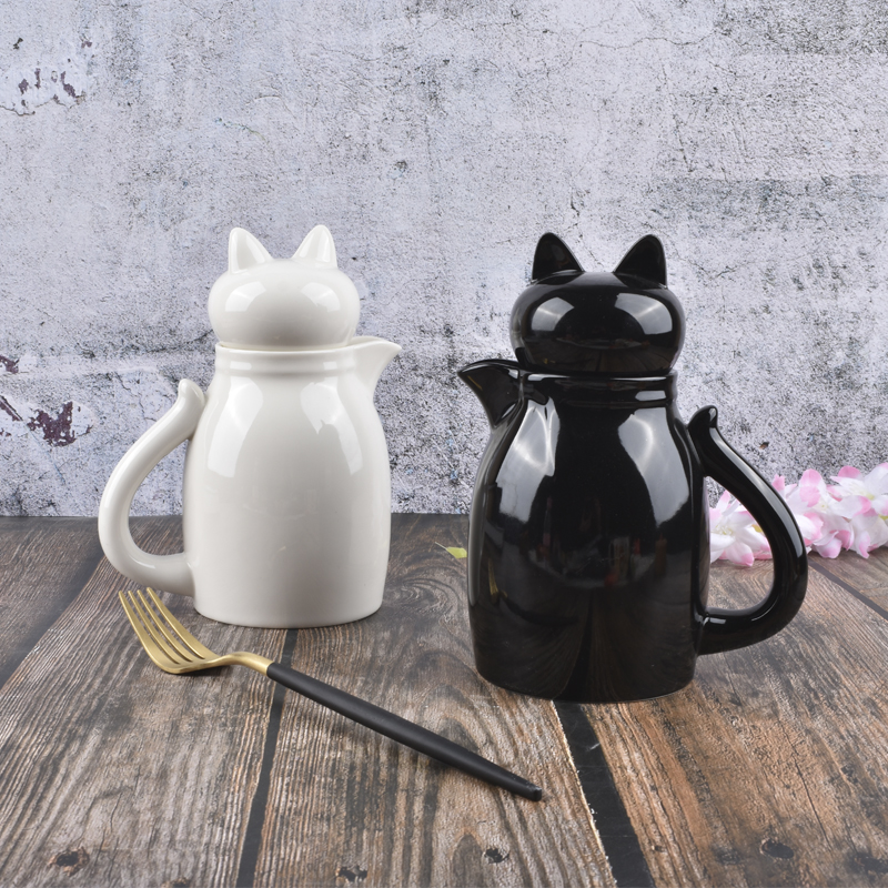 Ceramics Cat Latte Milk Jug With Cover Frothing Pitcher Pull Flower Cup Coffee Milk Frother Milk Foaming Tool Coffeware Pf92803