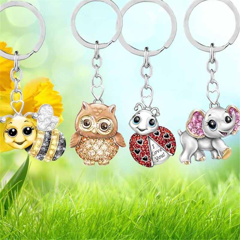 Cute Metal Animal Keychain Women Rhinestone Owl Elephant Ladybug Pendant Car Keyring Jewelry Souvenir Gift Porte Clef
