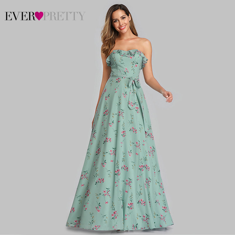 Robe De Soiree Ever Pretty Beach Dress EP07242 Elegant A Line Floral Print Evening Dress Long Summer Boho Dress Vestido De Festa