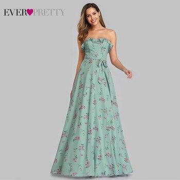 Robe De Soiree Ever Pretty Beach Dress EP07242 Elegant A Line Floral Print Evening Dress Long Summer Boho Dress Vestido De Festa