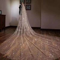Vivian's Bridal Luxury Sparkle Light Gilding Veil Starry Sky Aestheticism With Comb Shiny Sequin Cathedral Veil Wedding Veil