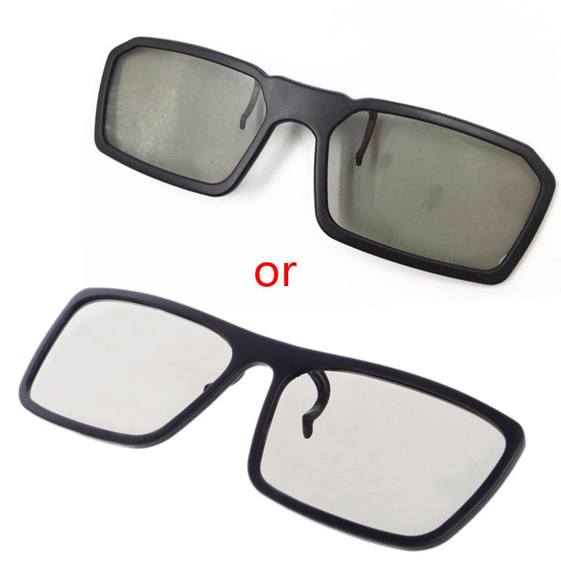OOTDTY Clip-On Type Circular Passive Polarized 3D Glasses For TV Real 3D Cinema 0.22mm