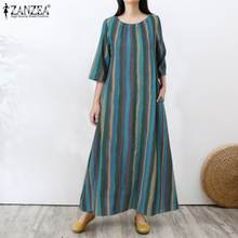 ZANZEA Maxi uzun elbise kadınlar için emme yaz yarım kollu Sundress 2021 bayanlar Retro Vestidos Casual çizgili Robe boy 5XL