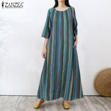 ZANZEA Maxi Long Dress For Women emme Summer Half Sleeve Sundress 2021 Ladies Ladies