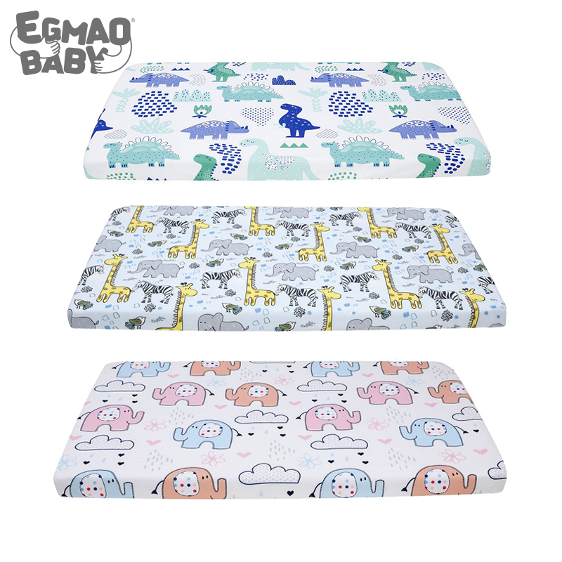 130*70cm Fitted Crib Sheet For Unisex Boys And Girls Baby Standard Crib And Toddler Mattresses Cover Elephant Dinosaur