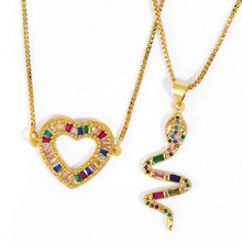 Crystal Snake Gold Chain Necklaces For Women CZ Cubic Zirconia Heart Pendant Necklace Pave Stone Rainbow Jewelry arcoiris nkeq87