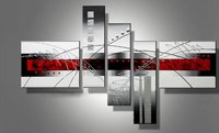 Hand Painted Oil Painting 5 Pieces Red Black and White Abstract Art Modern Home Decor Wall Art Group Painting Home Decorative Pa