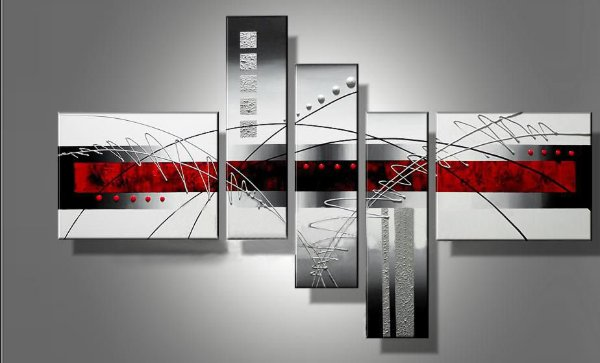 Peinture à l'huile peinte à la main 5 pièces rouge noir et blanc Art abstrait moderne décor à la maison mur Art groupe peinture maison décorative Pa