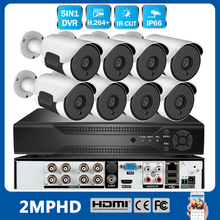 цена на 720P/1080P AHD Security DVR CCTV Camera Surveillance System With 8PCS Weatherproof Outdoor IP Camera Smart IR-Cut  US/UK/EU Plug