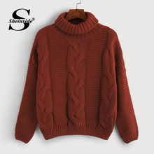 Sheinside Burgundy High Neck Cable Knit Sweater Women 2019 Autumn Long Sleeve Basic Sweaters Ladies Solid Minimalist Top(China)