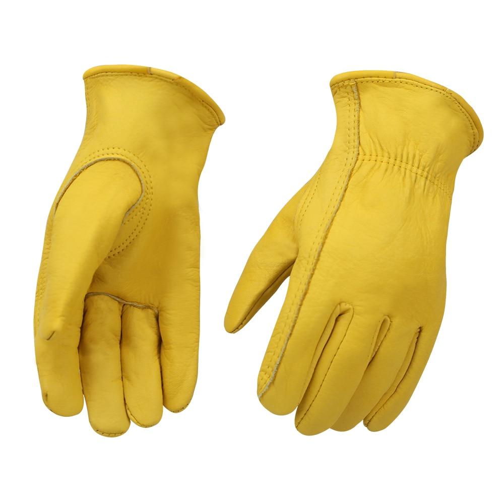 Cheap Work Gloves Leather Gardening Motorcycle Cowhide Grain Leather Safety Working Glove Men&Women