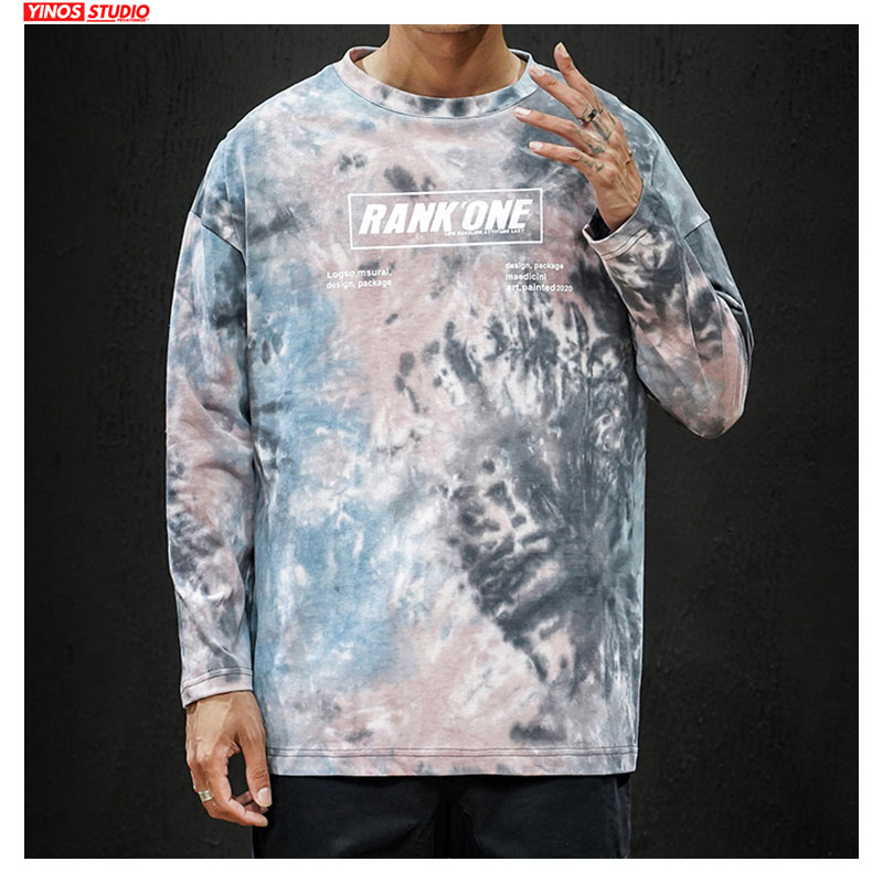 Dropshipping 2019 Slim Fit Hip-Hop T-shirt Autumn Long Sleeve Tie Dyeing Tshirt Male Streetwear Japanese Causal Tops