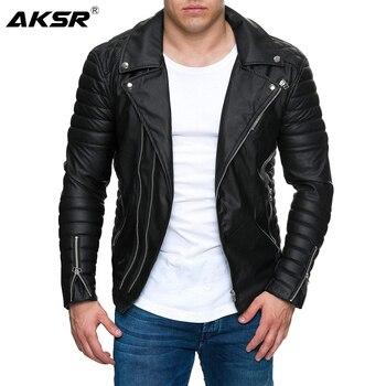 AKSR 2019 Jacket men New Men's Fashion Casual Long Sleeved Motorcycle Fur Leather Jacket Slim Fit Mens Winter Coats цена 2017