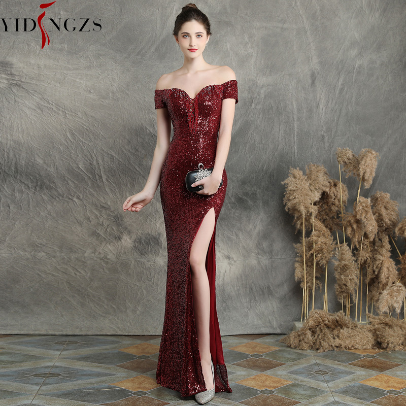 YIDINGZS Slit Sexy Sequins Evening Dress Womens V-neck Beading Long Evening Party Dress YD16617