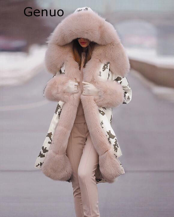Véritable nouveau manteaux femmes fourrure floue Camouflage sweat à capuche chaud hiver veste coupe-vent Outwear épais mode nouveau manteau femmes 2020 - 6
