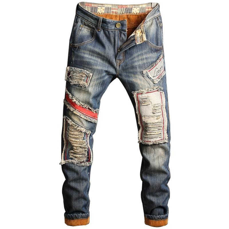PUIMENTIUA 2019 Fashion Men Autumn Winter Patchwork Jeans Zipper Ripped For Men Velvet Hip Hop Punk Streetwear Straight Men Jean