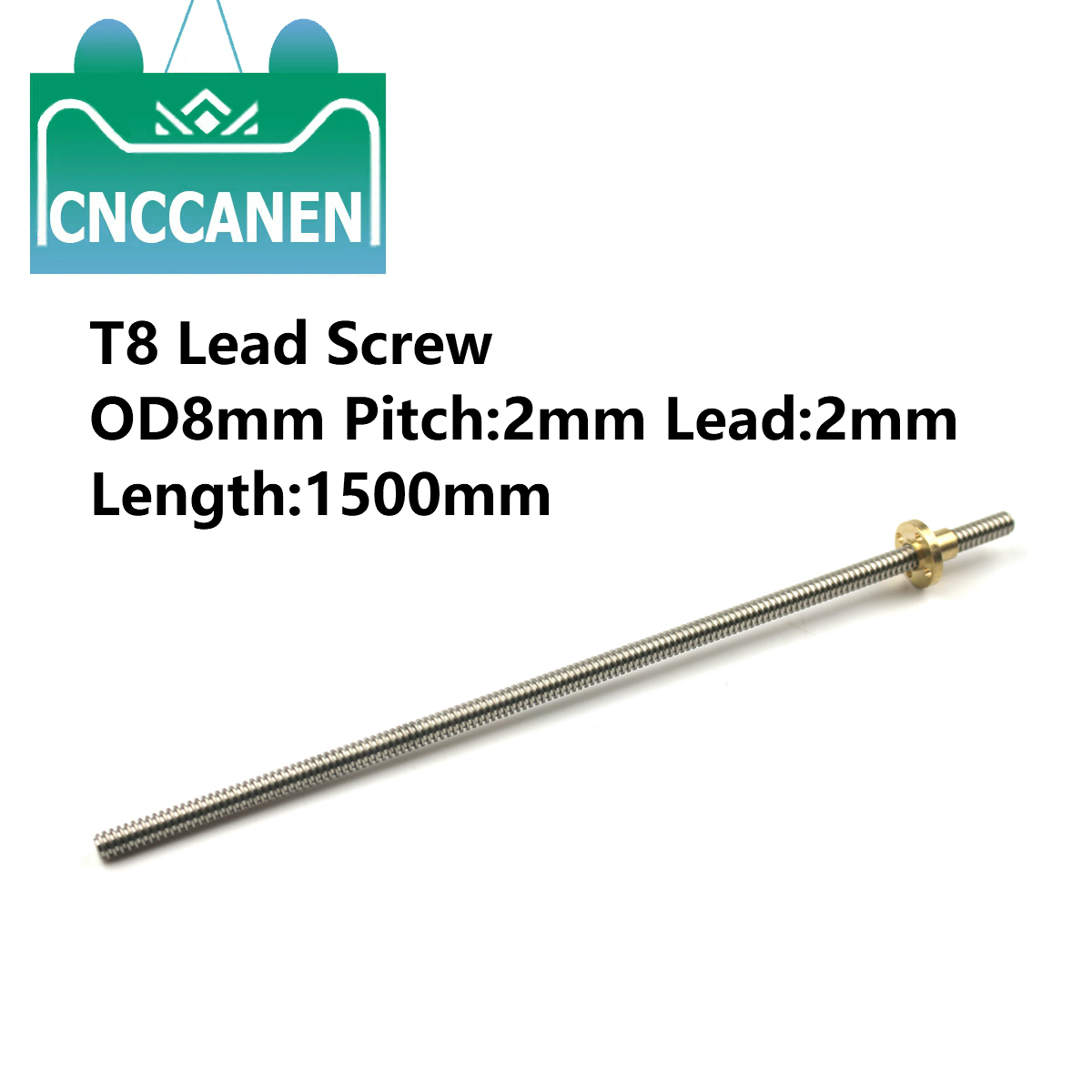 1Piece T8 Lead Screw Rod OD8mm Pitch 2mm Lead 2mm 1500mm With Brass Nut For CNC 3D Printer