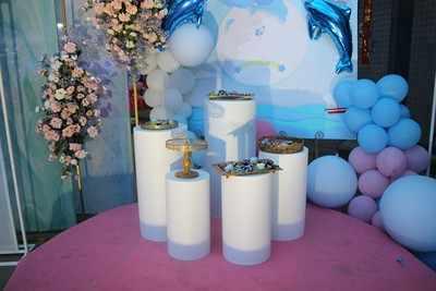 חתונה ילדי מסיבת שלב תפאורות צילינדר טור גדול קשת פרח בלוני קינוח שולחן דוכן עוגה גבוהה עמוד מחזיקי