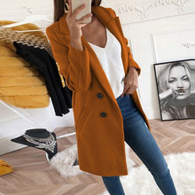 New fall winter big size women blends coat turndown collar solid casual long wool blends coat for women women coats 2020 cheap feitong Artificial Wool Coat Tops Turn-down Collar Single Breasted REGULAR Full Wide-waisted Pockets Polyester Bohemian