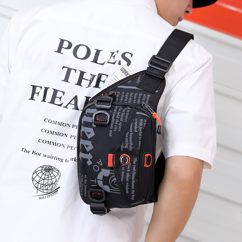 New Style Outdoor Exercise Waterproof Nylon Cloth Chest Pack Lettered Multi-functional Trend Riding Shoulder Bag Men's Casual Wa