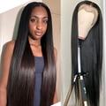 13x4 парики из человеческих волос на фронте шнурка для черных женщин 30 дюймов, парик из прямых бразильских коротких волос, 4x4, кружевной передн...