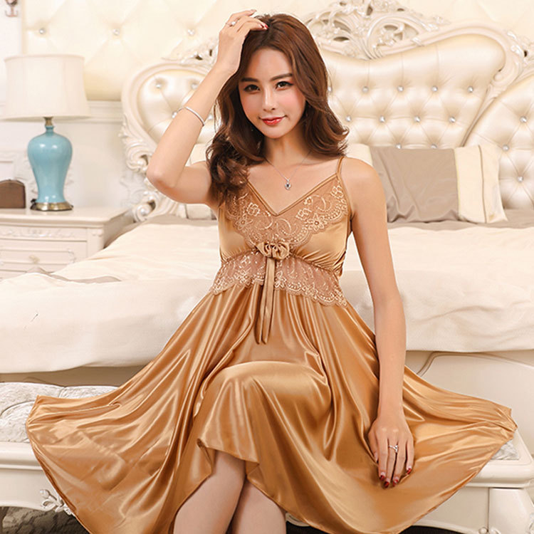 2019 Camisole Sexy Nightgown Women's Viscose Backless Deep V-neck Summer Imitated Silk Fabric WOMEN'S Pajamas Women's Thin Type