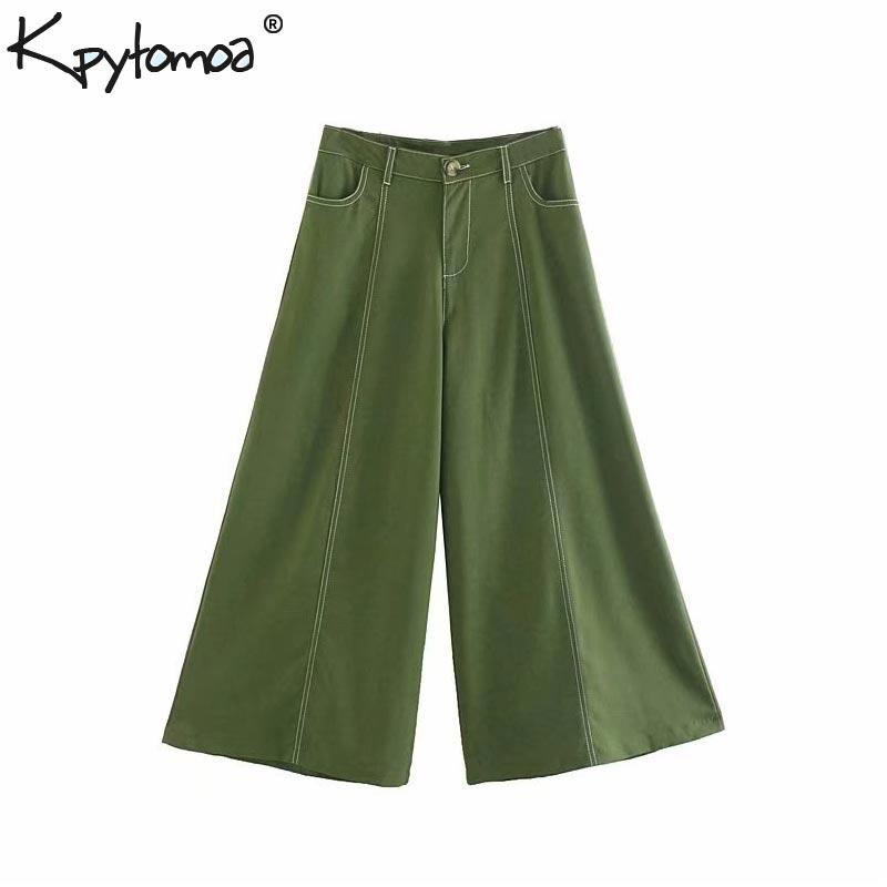 Vintage Stylish Topstitching Pockets   Wide     Leg     Pants   Women 2019 Fashion High Wasit Zipper Fly Ankle Trousers Pantalones Mujer