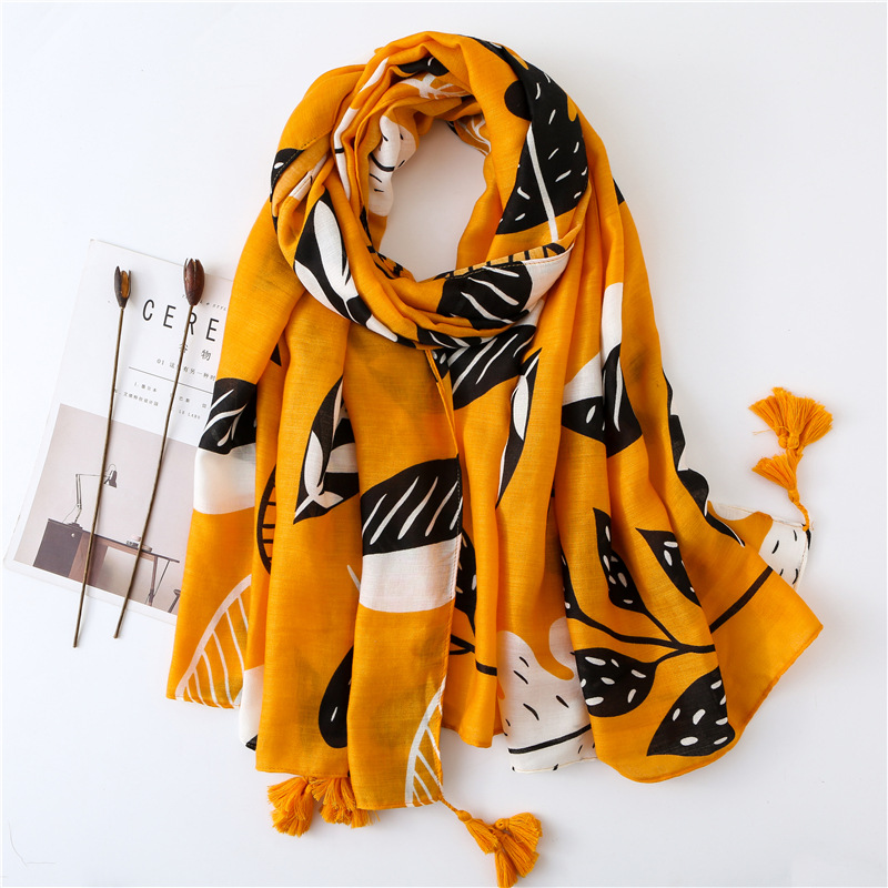Scarf For Women Lightweight Floral Flower Scarves For Fall Winter Shawl Wrap Summer Sarong Yellow Color