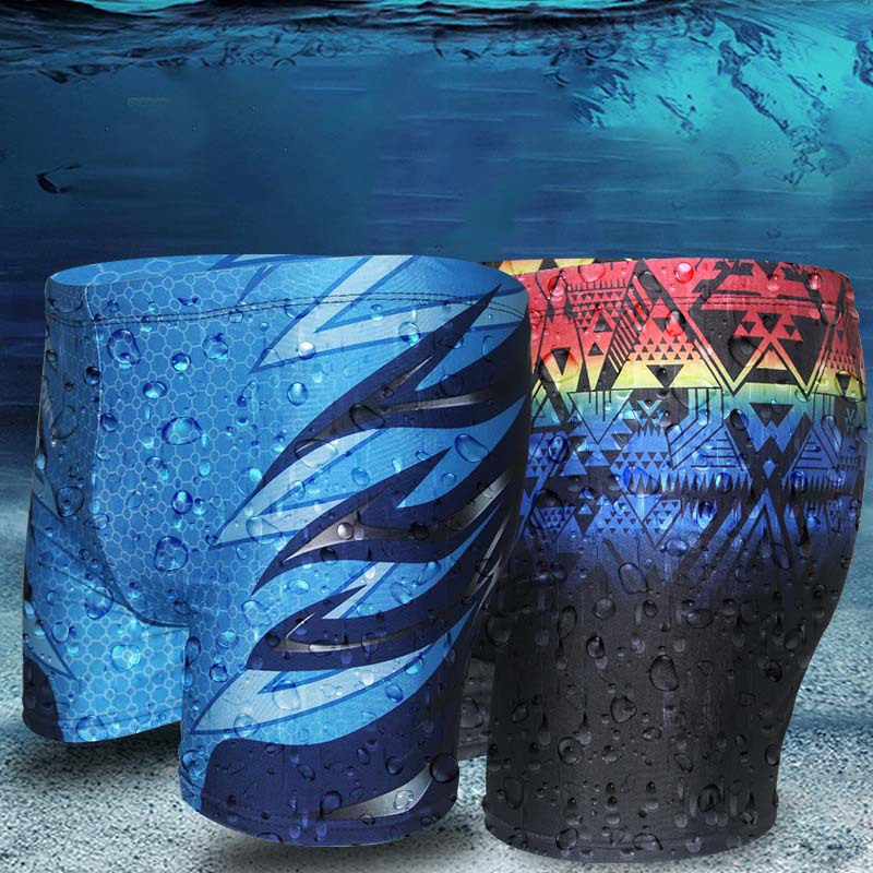 New Products Fashion Men-Style Quick-Dry Beach Swimming Trunks Students Teenager Conservative Boxer Swimwear