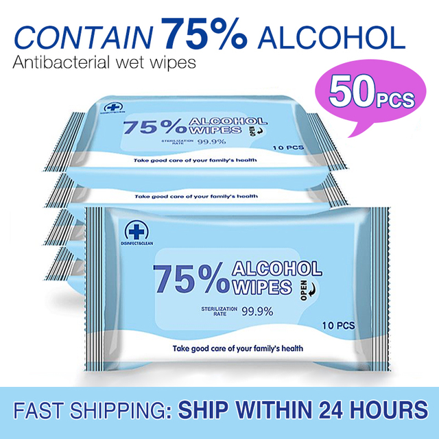$ US $11.99 50pcs Disinfectant Alcohol Wipes Antiseptic 75% Alcohol Pad  Portable Disposable Wipes For Hand Skin Clean Cotton Wet Wipes