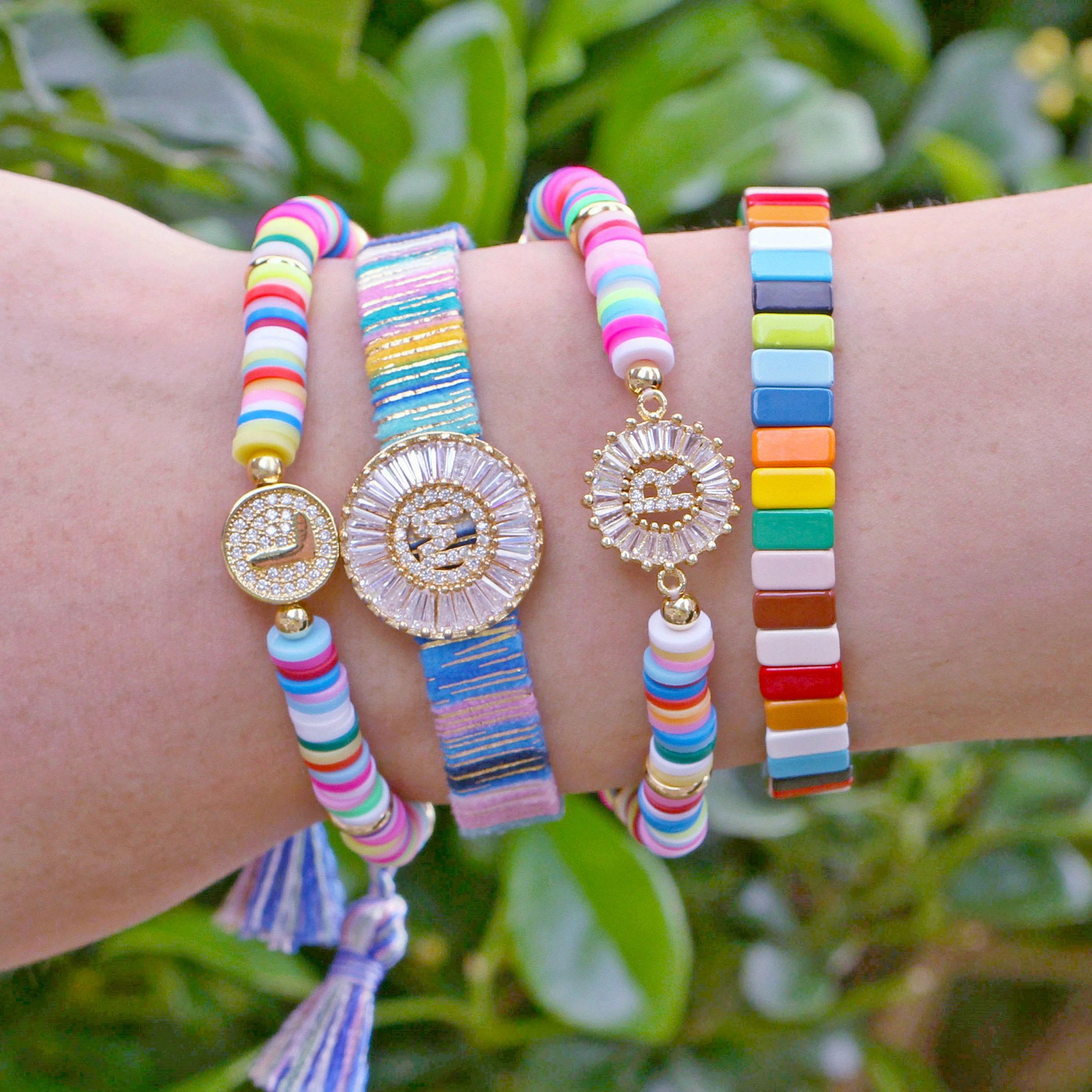 New Boho Letter Rainbow Charm Bracelet Men Women Fashion 26 alphabets CZ Strand Gold Name Bracelets For Female Couples Jewelry